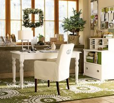 Love the rug and the white with other neutrals and natural holiday decor... I can imagine looking out the windows at a jaunty snowman...