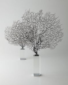 """Two """"Corrine"""" Coral Sea Fan Sculptures by Arteriors at Horchow."""