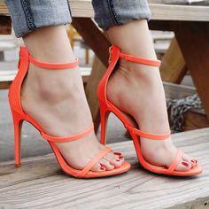 Sexy Sandals, Bare Foot Sandals, Sexy Heels, Strappy Heels, Stiletto Heels, Shoes Heels, Cool Shoes For Girls, Girls Shoes, Open Toe High Heels