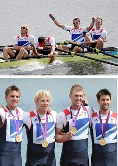 Olympic Games gold medalists: Men's four winners, Andrew Triggs Hodge, Pete Reed, Tom James and Alex Gregory of Great Britain.