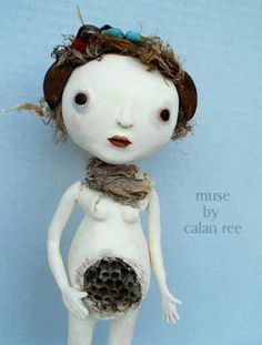 mixed media art doll / figurative sculpture - paper clay, wasp nest and other found objects, paint