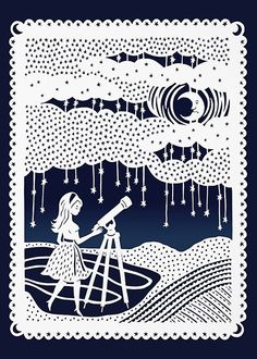 Stargazing Night Sky - Girl and Telescope