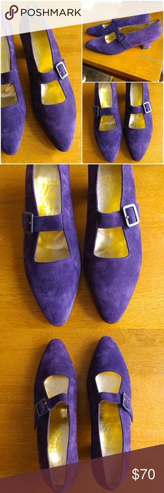 VTG Ferragamo purple suede pumps heels 8 B Amazing Vintage Salvatore Ferragamo heels -size 8 B -new old stock- deep plum purple suede uppers - mary jane style with a rounded pointy toe- metallic gold inside - low heel that gives good stability - in almost new condition, the only flaw are a few sticky places where the original price tag was stuck on. One tiny hairline scratch on the back of the heel of the left shoe, a few tiny light spots that can only be seen when you look really close…