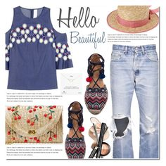 """Hello Beautiful"" by bibibaubau ❤ liked on Polyvore featuring Peter Pilotto, Levi's, Arche, Aquazzura and Dogeared"