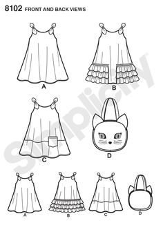 Simplicity Pattern 8102 Child's Easy-to-Sew Sundress and Kitty Tote (line art) Fashion Drawing Dresses, Baby Girl Dress Patterns, Diy Tote Bag, Simplicity Sewing Patterns, Little Girls, Kids Outfits, Kitty, Coloring, Printable