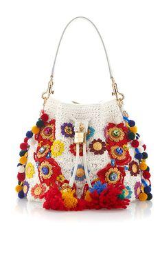 Claudia With Raffia Flowers & Crystal Stones Bucket Bag by DOLCE & GABBANA for Preorder on Moda Operandi