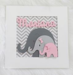 Baby Girl Elephant, Elephant Baby Showers, Elephant Nursery, Baby Boy Shower, Box Frame Art, Box Frames, Baby Room Decor, Nursery Decor, Nursery Frames