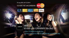 Mã giảm giá Uber, Giảm 75K khi thanh toán cùng thẻ Sacombank MaterCard | Siêu Coupon - Siêu giảm giá