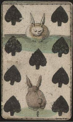 Nine of spades (rabbits). (original source unknown to me)