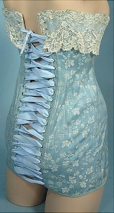 c. 1908-1914 RARE Au Royal Corset, Madrid Light Blue Embroidered  Corset with White Lace.