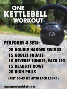 One Kettlebell Workout (great workout that can be done anywhere!) - Coconuts… One Kettlebell Workout (great workout that can be done anywhere! Kettlebell Training, Crossfit Kettlebell, Kettlebell Benefits, Kettlebell Challenge, Kettlebell Deadlift, Training Exercises, Kettlebell Routines, Fitness Workouts, Fitness Tips