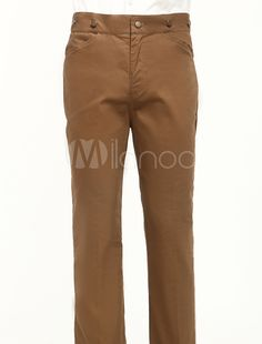 Brown Cotton Mens Victorian Trousers (Order Tailored fit)