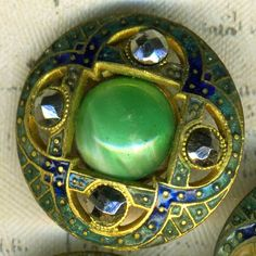 Openwork Cloisonne Enamel Button Cut Steels