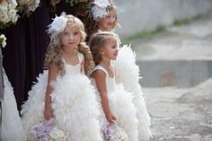 fluffy flower girls with mini veils!! Adorable!!