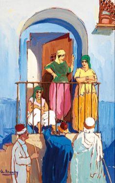 Peinture Algérie - Charles BROUTY (1897-1984) JEUNES FEMMES AU BALCON