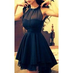 Elegant Solid Color Beam Waist Irregular Hem Chiffon Dress via Polyvore