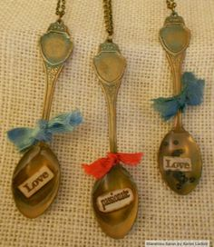 Sin City Stamps text stamps in brass spoons. By Karen Lackey