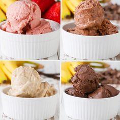 "Banana ""Ice Cream"" 4 Ways-- Have A Guilt-Free Treat With These Banana ""Ice Cream"" Recipes Healthy Desserts, Just Desserts, Delicious Desserts, Dessert Recipes, Yummy Food, Italian Desserts, Healthy Meals, Ice Cream 4, Banana Cream"