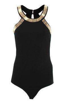 Boudi - Forever Unique - 'Britton Gold Embellished Leotard Top Black (WAS:£69 NOW:£35)