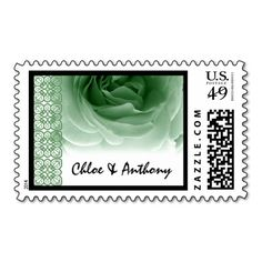 Wedding Lace MINT GREEN Rose - Bride and Groom Postage Stamps