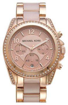 Michael Kors 'Blair' Crystal Bezel Two-Tone Bracelet Watch, 39mm   Nordstrom