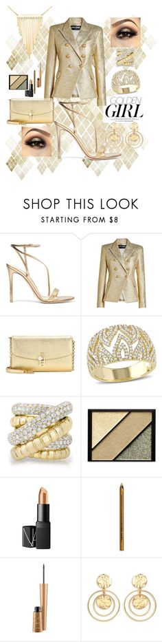 """GOLDEN GIRL"" by candiceautumn ❤ liked on Polyvore featuring Gianvito Rossi, Murphy, Balmain, Dolce&Gabbana, Allurez, Elizabeth Arden, NARS Cosmetics, NYX, MAC Cosmetics and Kenneth Jay Lane"