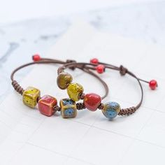 Artisanal items with the hippie bohemian style from the Moroccan culture : fashion, Decoration, home design, and Art items only in Artisalos Ceramic Necklace, Ceramic Beads, Handmade Bracelets, Beaded Bracelets, Hippie Headbands, Hippie Bags, Colorful Bracelets, Unisex, Boho Rings