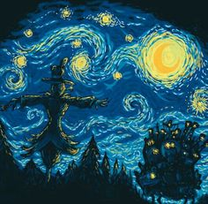 Howl's Moving Castle, Van Gogh, The Starry Night; Studio Ghibli