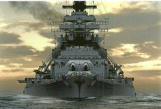 SM Bismark at sunset - KSM Bismark - Battleship - Light displacement: 41,700 tonnes (of which 40% dedicated to armor) at full load: 50,900 t Length on the waterline: 241 m Total: 251 m Width 36 m Draught Standard: 8.7 but fully loaded: 10.2 m Engine 3 boilers model pairs Wagner, 3 propeller shafts (140,000 project HP, HP 150,170 actual) speed 30.5 knots Range 17,200 km at 16 knots Crew 2,100 (103 officers)