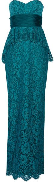 Notte By Marchesa Lace Peplum Gown in Blue (Teal) - Lyst     jaglady