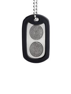 Square Fingerprint Charm on Black Leather Cord Necklace Fingerprint Jewelry Men/'s Fingerprint Jewelry Memorial Sympathy Gift