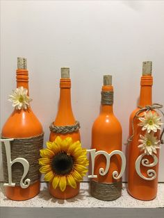 70 creative simple bottle for fall decor ideas to get Glass Bottle Crafts, Wine Bottle Art, Painted Wine Bottles, Diy Bottle, Bottle Painting, Mason Jar Crafts, Holiday Crafts, Fall Decor, Decor Ideas