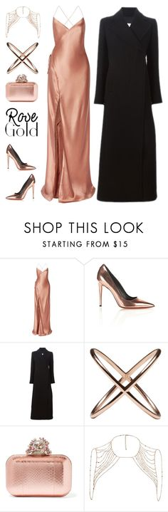"""""""So Pretty: Rose Gold Jewelry"""" by mcheffer ❤ liked on Polyvore featuring Mason by Michelle Mason, Alexander Wang, Gianluca Capannolo, Eva Fehren, Jimmy Choo, River Island and rosegold"""