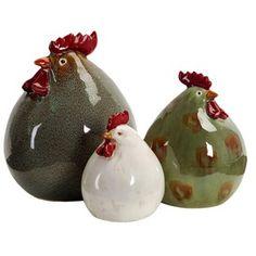 3 Piece Chicken Figurine Set