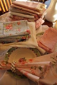 A proper table always has linen napkins, never paper. Paper napkins are not allowed in my house! I prefer to use my Grandmothers and my Mothers vintage linens. Vintage Textiles, Vintage Linen, Flea Market Finds, Flea Markets, Fru Fru, Vintage Tablecloths, Linens And Lace, Table Linens, Linen Fabric