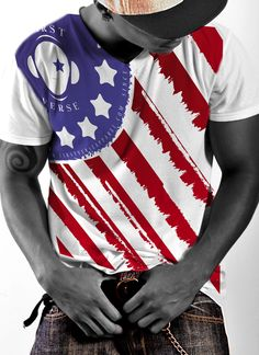 FirstVerse american flag color V-neck T-Shirt American Flag Colors, Military Veterans, Blue Fashion, Fourth Of July, V Neck T Shirt, Suits, Black And White, Tees, Classic