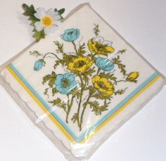 Vintage Paper Napkins Blue Yellow Spring Flowers Sealed Package 20 Count Easter Dinner $7.00