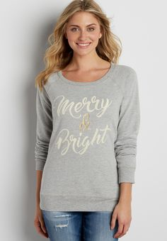 pullover sweatshirt with velvety merry & bright graphic