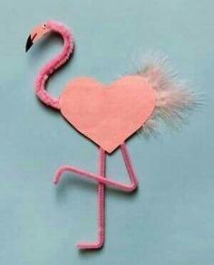 flamingo - Preschool Crafts for Kids*: 21 Fun Valentine's Day Animal Crafts for Kids Valentine Love, Valentine Crafts For Kids, Animal Crafts For Kids, Valentines Day Hearts, Toddler Crafts, Holiday Crafts, Art For Kids, Valentine Cards, Valentine Ideas