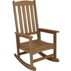 This faux wood rocking chair is the perfect addition to any front porch, deck, patio, backyard or other outdoor space. The 26 in. x 30 in. seat provides instant comfort to enjoy sitting outdoors. The recycled high-density polyethylene (HDPE) construc Outdoor Rocking Chairs, Patio Chairs, Deck Patio, Glider Chair, Thing 1, Deck Decorating, Wood Design, Chair Design, Patio Design
