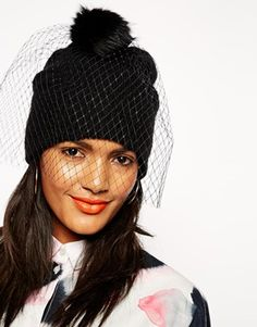 Enlarge ASOS Beanie In Mohair Mix With Detachable Veil/Pom