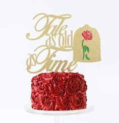 The multi layer/color Enchanted Rose Beauty and the Beast Cake Topper is definitely one of our favorites! Features the words Tale As Old as Time in an beautiful and elegant font.  Topper size: 7w X 5.7h  If you would prefer a different color combination or size, please send me a message and I would be happy to work with you to create exactly what you are looking for.  ♡ LIGHTNING FAST TURNAROUND ♡ Yes! We can accommodate your event date! Please let us know if you need a rush order before...