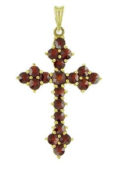 Bohemian Garnet Gothic Cross Victorian Pendant in Yellow Gold Vermeil Over Sterling Silver