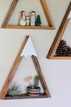 SET OF 3 Woodland Nursery Mountain Shelf Room Decor by DreamState