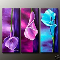 Hand Painted artwork Charm purple High Q. Flower Oil Painting on canvas 8x20inchx3 mixorde Framed-in Painting & Calligraphy from Home & Garden on Aliexpress.com
