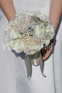 Elegant Ivory Real Touch Rose & Light Pink Peony Bridal Bouquet
