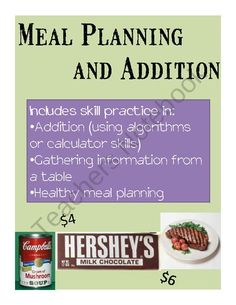 Math Practice through Meal Planning - A Life Skills Activity from Special Education Meets General Education on TeachersNotebook.com (6 pages)  - This is the perfect activity for middle school or high school students with moderate disabilities who need remediation and practice in basic arithmetic, but who are working through the transition process and need to start practicing life skills such as me