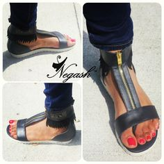 Negash Neith Sandals Black: This Stylish and Exclusive luxury sandal designed and fit for Goddesses.
