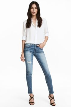 Skinny Low Trashed Jeans - Denimblauw - DAMES | H&M BE 1