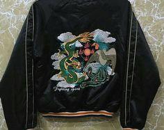 Vintage 80s Japan Sukajan yokosuka embroidery Japanese souvenir jacket M size black colour